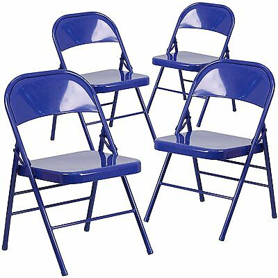 4 Hercules Color Burst Triple Braced & Double Hinged Metal Folding Chairs - Blue