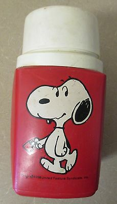 Vintage 1958 Snoopy Charlie Brown Peanuts Thermos Red Plastic 8oz