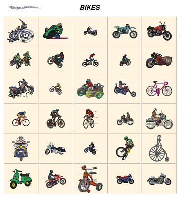 BIKES. CD or USB machine embroidery designs files  most formats. transportation