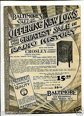 Vintage Advertising Flyer BALTIMORE RADIO CORP 1932 Values Crosley Atwater Kent