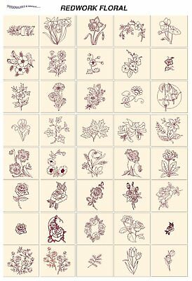REDWORK FLORAL. CD or USB machine embroidery designs files most formats pes etc