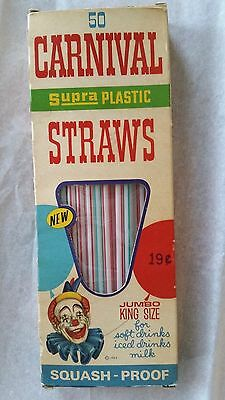 Vintage 60's Striped Carnival Clown Drinking Straws in Box