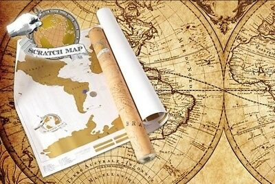 Large Size SCRATCH OFF World Map Unique Gift Travel Log Poster Where You Travel
