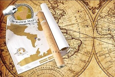 New Large Size SCRATCH MAP World Map Unique Gift Travel Log Poster TR0048