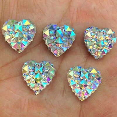 Lot 50pcs Crystal AB 12mm Flat Back Heart Resin Rhinestones Button Craft Decor
