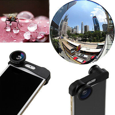 for iPhone 6/6s Plus 3in1 Clip-on 180° Fish Eye Wide Angle Macro Lens Camera Kit