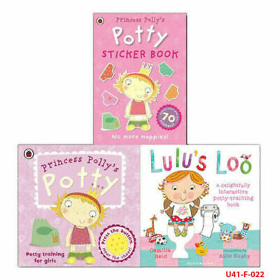 Princess Polly's Potty Sticker Books Collection 3 Books Set (Lulu's Loo)NEW Pack