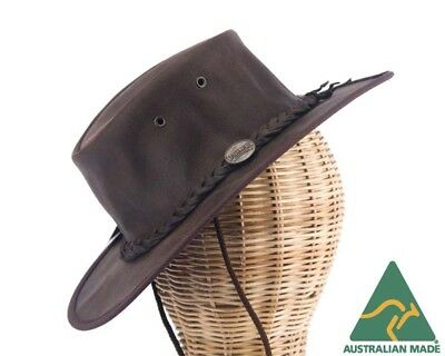 Barmah Foldable Australian Leather Outback Hat Made in Australia. Choc color
