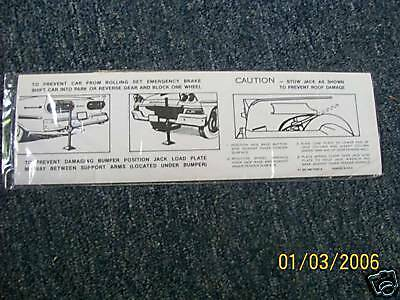 1958 Ford Fairlane Retractable Hardtop Trunk Jack Decal