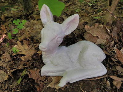 "Vintage Cement 9.5"" Long Baby Deer Fawn Garden chipped Painted Statue Concrete"