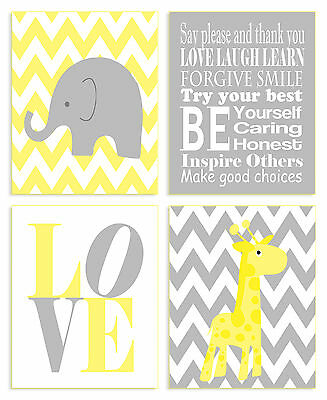 Stupell Industries The Kids Room Zigzag Elephant 4 Piece Wall Plaque Set