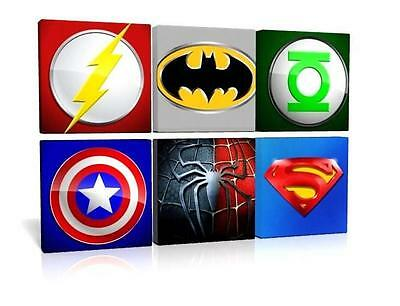 DEEP EDGE CANVASES  / WALL ART SUPERHERO LOGOS , SPIDY , BATMAN , MORE FREE p&p