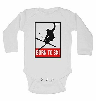Born to Ski - Long Sleeve Cotton Baby Vests for Boys, Grils