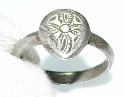 Authentic Medieval Silver Ring Depicting Cross On Bezel - Wearable- Lm4