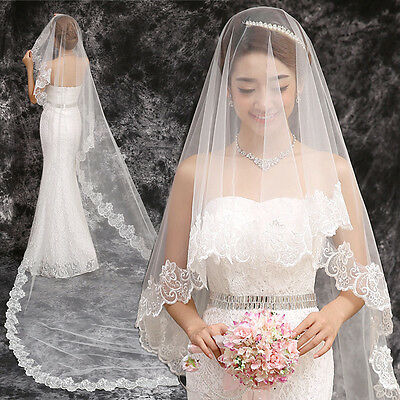 1T Layer White Ivory Elbow Long Lace Flower Edge Wedding Cathedral Bridal Veil