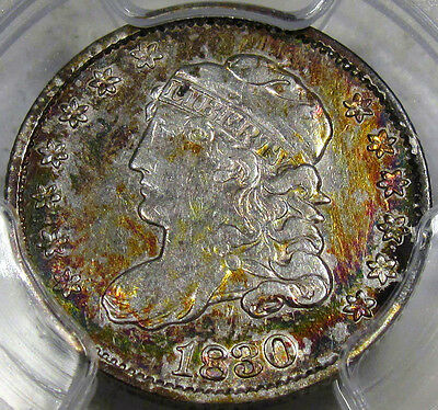1830 Capped Bust Half Dime PCGS Choice AU 50... Rainbow Toning, Flashy, So NICE!
