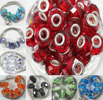 5Pcs Lampwork Glass Charm Murano Big Hole Bead Fit European Bracelet DIY 14x10mm