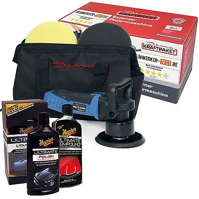 Dino 640603 Exzenter POLIERMASCHINE Dual Action Profi-Set + 3x Meguiars Ultimate
