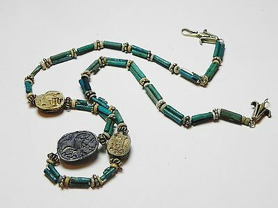 Zurqieh - 50W- Ancient Egypt. Necklace Of Faience Beads & Scarabs. 1400 B.c