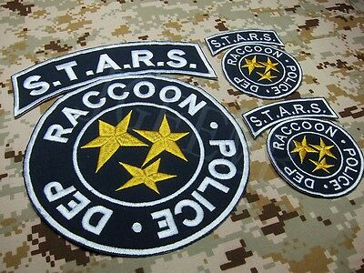 A SET Blue Resident Evil Umbrella STARS Reccoon in the rear Embroidery Patch
