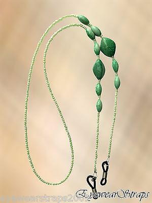 NEW Pearlised Green Bead Beaded Glasses / Sunglasses Chain Strap Holder