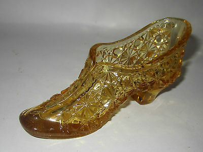 Vintage Antique 1886 Amber Glass Shoe Slipper Eapg George Duncan Daisy & Button