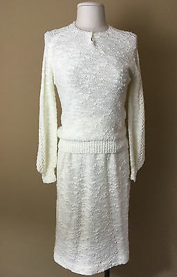Vintage 1970's MACY's 2-piece off-white sweater dress skirt & knit top S