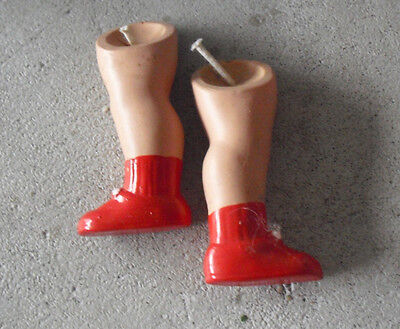 """Vintage 1930s Small Pair of Celluloid Girl Doll Legs 2 1/2"""" Long"""