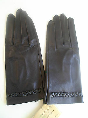 GORGEOUS SUPERB Datma Spanish Black Leather Gloves Small Size 8