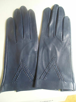 GORGEOUS SUPERB Soft Blue Leather Gloves Small Size 8.5 Retro Vintage Accessory