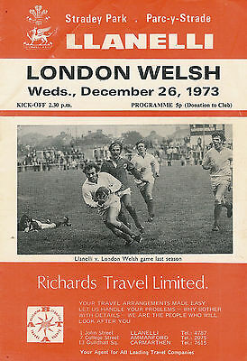 LLANELLI v LONDON WELSH 26 Dec 1973 RUGBY PROGRAMME