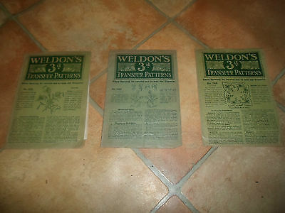 3 Fantastic Vintage Weldon's Embroidery Transfer Patterns EXCELLENT CONDITION