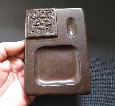 Chinese antiques Old Jade hand-carved dragon Ink stone Y2084