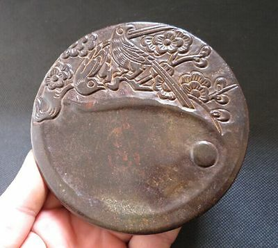 Chinese antiques Old Jade hand-carved Flowers and birds Ink stone Y2091