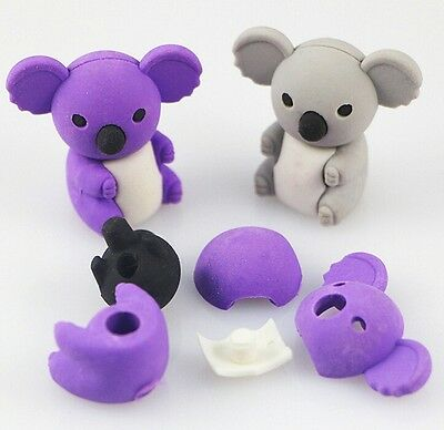 FD3873 Removable Cute Koala Eraser Rubber Pencil Stationery Child Gift Toy 1pc