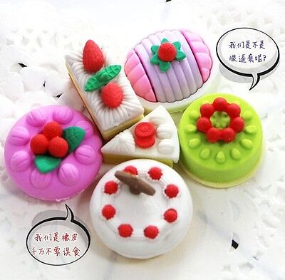 FD3876 Macarons Cake Dessert Eraser Rubber Pencil Stationery Child Gift Toy 4PC