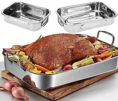 Set of 3 Roasting Baking Tin Trays & Racks Cooking Oven Dish Bakeware Non Stick