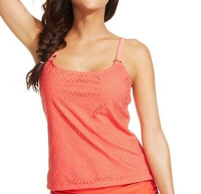 NWT Island Escape Add a Size Tankini Top Crochet Push-Up Swimsuit Coral Sz 8, 10