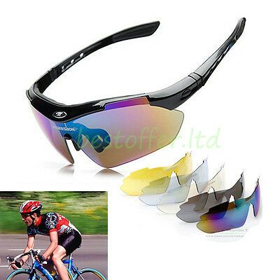 Outdoor Polarized Cycling Glasses Bike Sports Safety Sunglasses 5 Lens Goggles