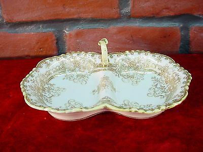 Beautiful Yellow White w Heavy Gold MORIAGE JAPAN RELISH or TRINKET TRAY DISH