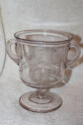 Antique Purple Tinted Flint Eapg Glass Double Handle Compote Dish Etched Jar