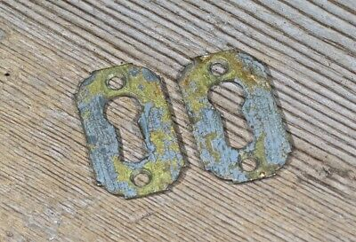 "2 Keyholes Lock Escutcheon plates old brass 7/8 x 1 5/16"" door skeleton vintage"