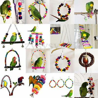 Various Colorful Swing Bird Rope Cage Hanging Parrot Toys Parakeet Budgie