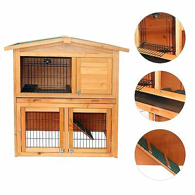 "PawHut 40"" 2 Storey Wood Rabbit Bunny Hutch House Coop Pet Cage w/ TRAY Ladder"