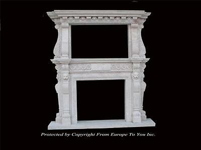 Large Estate Hand Carved Fireplace Mantel - Fireplace Mantel - Monumental Mantel