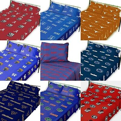 NCAA College Sheet Set - Sports Logo Colored Flat and Fitted Bedroom - PICK TEAM
