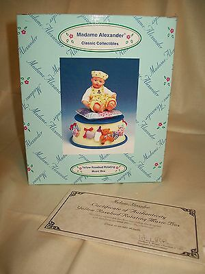 NIB MADAME ALEXANDER Yellow Rosebud Rotating Music Box Figurine W/COA