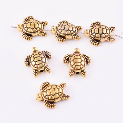 Gold Silver Turtle Charm Spacer Beads Metal Loose Jewelry Finding DIY