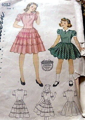 LOVELY VTG 1940s GIRLS PARTY DRESS Sewing Pattern 8