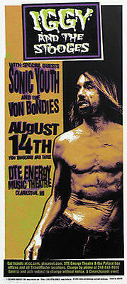 Iggy Pop Stooges Poster Sonic Youth Clarkston 2003 Original Signed Arminski